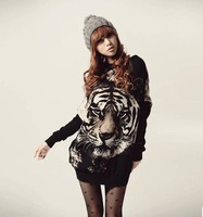 NEW HOT  Women Tiger Pattern Loose Long Bat Wing Sleeve Shirt Top Blouse ,women's tops