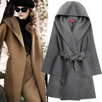 Free Shipping Brief Fashion Winter Women's Cashmere Outerwear Coats Long Design Luxury Hooded Lacing Overcoat Cool Windbreaker