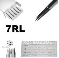 50pcs sterilized 7RL tattoo needle round liner tattoo needles surgical steel made free shipping good quality(China (Mainland))