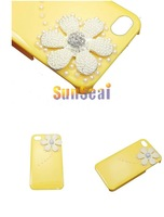 High Quality Luxury Bling Diamond 3D Rhinestone Flower Hard Case For Iphone 4 4G 4S