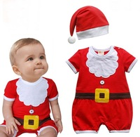 Hot sale 2-pcs baby boys Christmas suit(baby hat+Romper),best Christmas gift for New Year,3 set/lot,Free Shipping