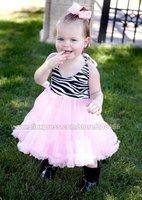 wholesale dresses girls halter zebra pink petti dress baby toddler kids animal One piece design tutus skirts free shipping
