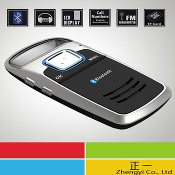 Free Shipping 10pcs Solar Powered Bluetooth Car Kit Handsfree FM+MP3 Player
