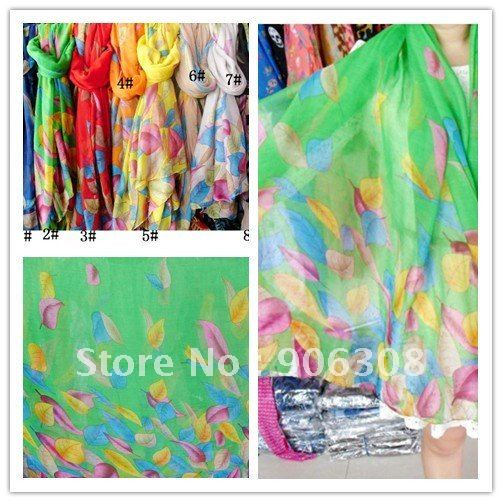 Hot Lady's Fashion Print Cotton Voile Hijab Scarf Shawls Leaf Scarves Shawls Wrap Wholesale 10pcs Mixed Colors Free Shipping(China (Mainland))