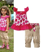 172 Wholesale Free shipping little girls casual clothing sets flower printing clothes  5sets/lot
