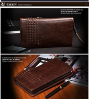free shipping,  Latest Style Genuine Leather Men Hand Bag Wallet Purse Handbags Clutch Bags zipper strap brown
