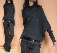Free shipping 2012 autumn outerwear women's loose casual batwing shirt sweater female fashion sweater wholesale
