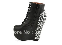 Free/drop shipping, 2012 news fashion boots for women shoes, platform pumps, sexy red botton high heels, rivets, WSXX04428