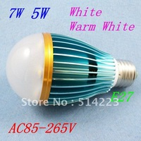 AC 85-265C 2 Year Warranty 5W /7W LED E27 Bulbs Warm White / White Lamp Light 700LM High Brightness Free Shipping