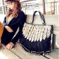 2012 female bags peacock tail leopard print decoration tassel    handbag