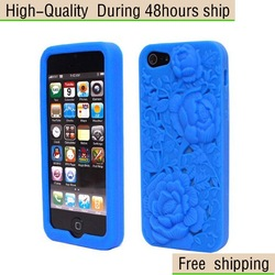 New 3D Rose Flower Sculpture Design Soft TPU Silicone Case for iPhone 5 5G 5th Free Shipping UPS DHL HKPAM CPAM SD-82(China (Mainland))