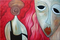 Abstract faces - 100% Handmade Abstract art oil painting on canvas  24x36 inch