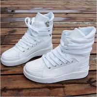 Free shipping men's korean designer fashion brand high tops sneakers bottom  black white red blue,hip-hop dance fashion shoes