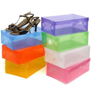 multicolour plastic storage shoe crystal thickening of storage transparent boots(China (Mainland))