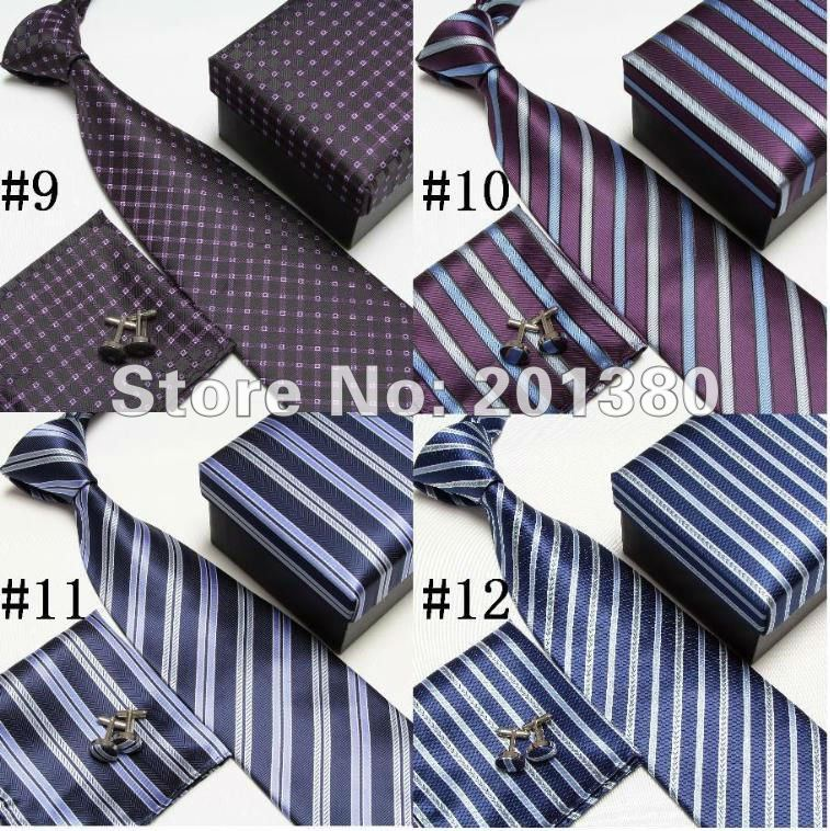 free shipping (50sets/lot) polyester striped men's neck tie set cufflinks Pocket square neckties(China (Mainland))