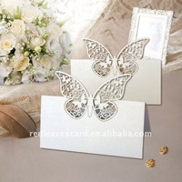 ST0928-08 Hot Sale Laser cutting Weding Butterfly Place Card  in Pearlescent Paper White Size 9*9cm 12pcs in an opp bag