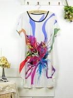 Freeshipping Short Sleeve O-Neck Floral Printed Exotic  Big Plus Size Mini Women Dress RD0030 Geometry Bodycon