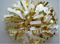 "cheerleader pom pom dual-head baton 6"" * 3/4"" professional poms plastic white metallic gold mini order 10 pieces"