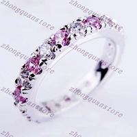 Jewelry Brand New pink sapphire lady 14KT white Gold-plated Ring Zircon ring Christmas woman's rings