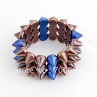 2014 newest design stylish wide stud hip hop stylish multicolor rivet chic trendy Punk bangle & bracelet  rignal from factory