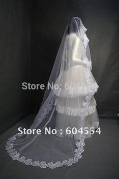В наличии оптовая продажа цена белый тюль кружева свадебные аксессуары один слой ...