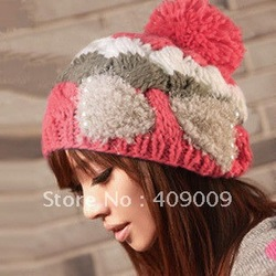 free shipping+lady knitted hat pearl butterfly knitted hat big ball cap(China (Mainland))