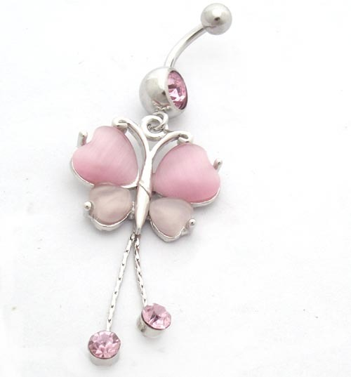 body chain belly nose ring jewelry Navel ring accessories umbilical nail umbilical ring butterfly pink long needle(China (Mainland))