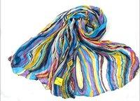 Blue 2012 fashion lady's cotton striped scarf shawls long size scarf  free shipping