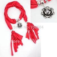 6pcs/lot, 2013 fashion magic fall  necklace  jewelled rose pendant  scarf,mixed colors, original factory