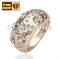 18KGP Jewelry 18K Gold Plated White Crystal Ring Nickel Free Platinum Rhinestone Austrian Crystal SWA Element R078