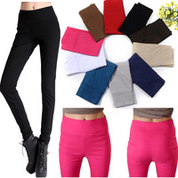 Autumn and winter plus velvet thickening high waist elastic slim skinny pants pencil pants female candy color pencil pants