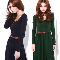 Free Shipping 2013 Spring/Autumn Solid Knitted Long-sleeve Pullover Plus Size With Belt Wonmen dress M/L/XL
