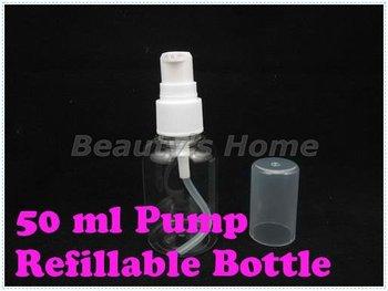 50ml pump refillable bottle Perfume Atomizer Spray Bottles Transparent Small Empty Bottle Wholesale free shipping#0301
