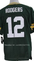 2012 Elite JERSEYS Green Bay #12 Rodgers Jersey New Brand Green White Footbll jeresys Size 40 44 48 52 56 Mix Order Stitched