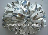 "cheerleader pom pom dual-head baton 6"" * 3/4"" professional poms plastic white metallic silver mini order 10 pieces"