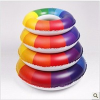 Children/adult rainbow pattern thicken Swimming Rings, colorful inflatable spare tire + free shipping