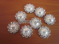 Free Shipping!40pcs/lot 20mm Pearl Simplicity Large Button, Bling Pearl Button Alloy Metal Buttons Flat Back,Accessory