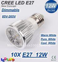High Power Dimmable E27 4*3W 12W 85V-265V CREE LED Light LED Bulb Lamp LED Spotlight 10pcs