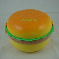 New Lovely Hamburger Shaped Lunch Box Bento Case Food Container Spoon&fork rounded #457