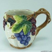 Function art gift grape vine ceramic cup mug