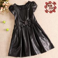 Desinger formal dress 2012 sheepskin one-piece dress ladies genuine leather one-piece dress bow princess dress doll skirt