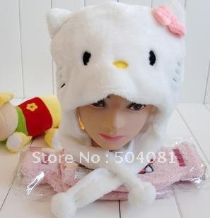 FREE Shipping Christmas WINTER cosplay Beanie/kid hat / wholesale 10pc/lot cute hello kitty warm cap Cartoon Animal kt cat Hat