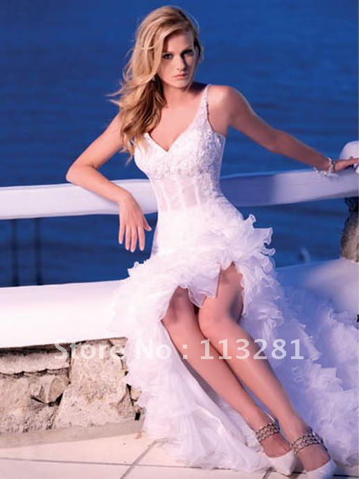 Free Shipping White Gown Short Front Long Back Organza Appliques Beads Trains Cheap Ebay Wedding Dress 2012 China Custom Made(China (Mainland))