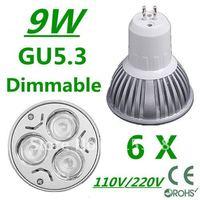 6pcs/lot CREE Dimmable High power GU5.3 3x3W 9W 110V/220V led Light Lamp Downlight led bulb spotlight Free shipping