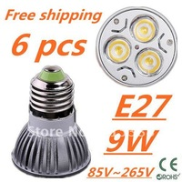 6pcs/lot CREE LED High power E27 Base 3x3W 9W led Light led Lamp led Downlight led bulb spotlight Free shipping