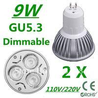 2pcs/lot CREE Dimmable High power GU5.3 3x3W 9W 110V/220V led Light Lamp Downlight led bulb spotlight Free shipping