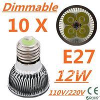 10pcs CREE Dimmable LED High power E27 Base 4x3W 12W led Light led Lamp led Downlight led bulb spotlight Free shipping