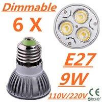 6pcs/lot CREE Dimmable LED High power E27 Base 3x3W 9W led Light led Lamp led Downlight led bulb spotlight Free shipping