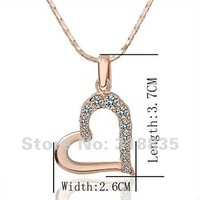 KN005 Free shipping 18K GP Necklace pendant Austria crystal fashion jewelry Necklace 18K white/gold/Rose Plate hsha qjoa zaxa