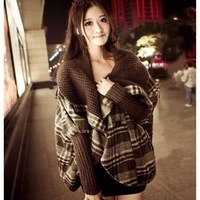 8857 2012 autumn and winter women plus size outerwear plaid mantle type loose thickening wool coat